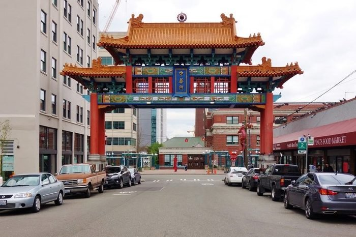 SEATTLE, WA -25 FEB 2017- View of the Chinatown International District in Seattle, the center of the Asian American community in Seattle.