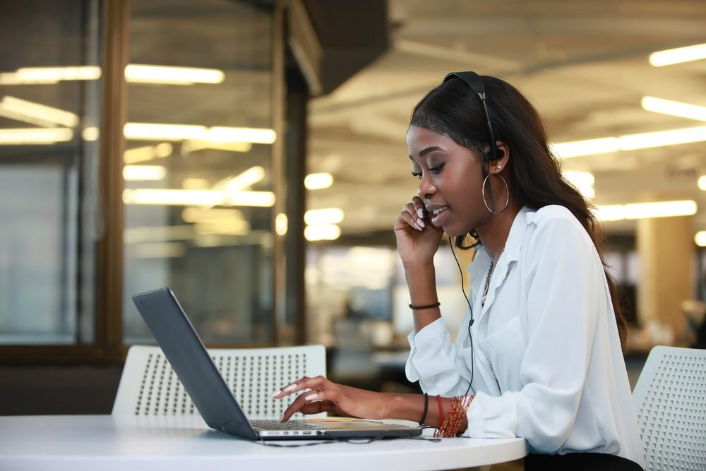 hotline african black customer service, happy support operator, call center