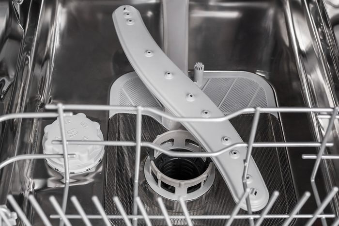 the dishwasher carriage. Dishwasher from the inside close up