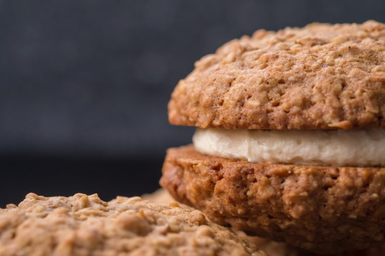 Close up Homemade Malt and Oat Cookie Sandwiches . (selective Focus)