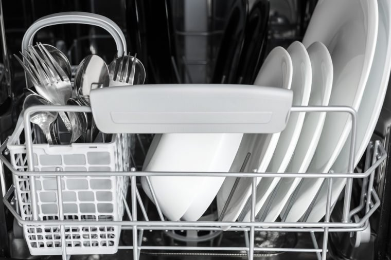 clean dishes inside the dishwasher after washing