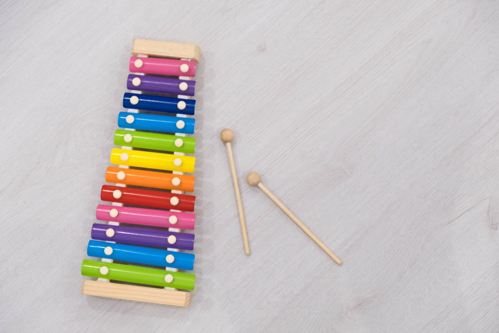 Rainbow colored toy xylophone