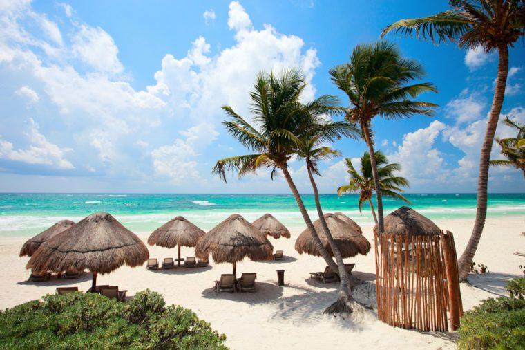 Beautiful Caribbean coast in Tulum Mexico