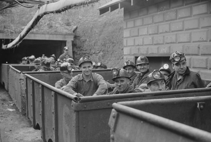 VARIOUS Coal Miners Ready for Next Shift into Mines, Maidsville, West Virginia, USA, Marion Post Wolcott for Farm Security Administration, September 1938