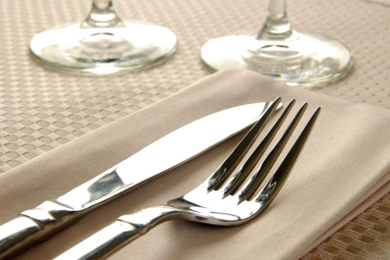 Close up photo of an elegant dinner table setting