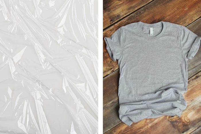 plastic wrap t shirt