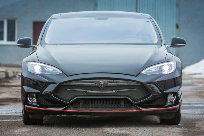 Togliatti - MARCH 24: TESLA Model S Electric Car with LARTE Design Tuning, on MARCH 24, 2016 in Togliatti, RUSSIA