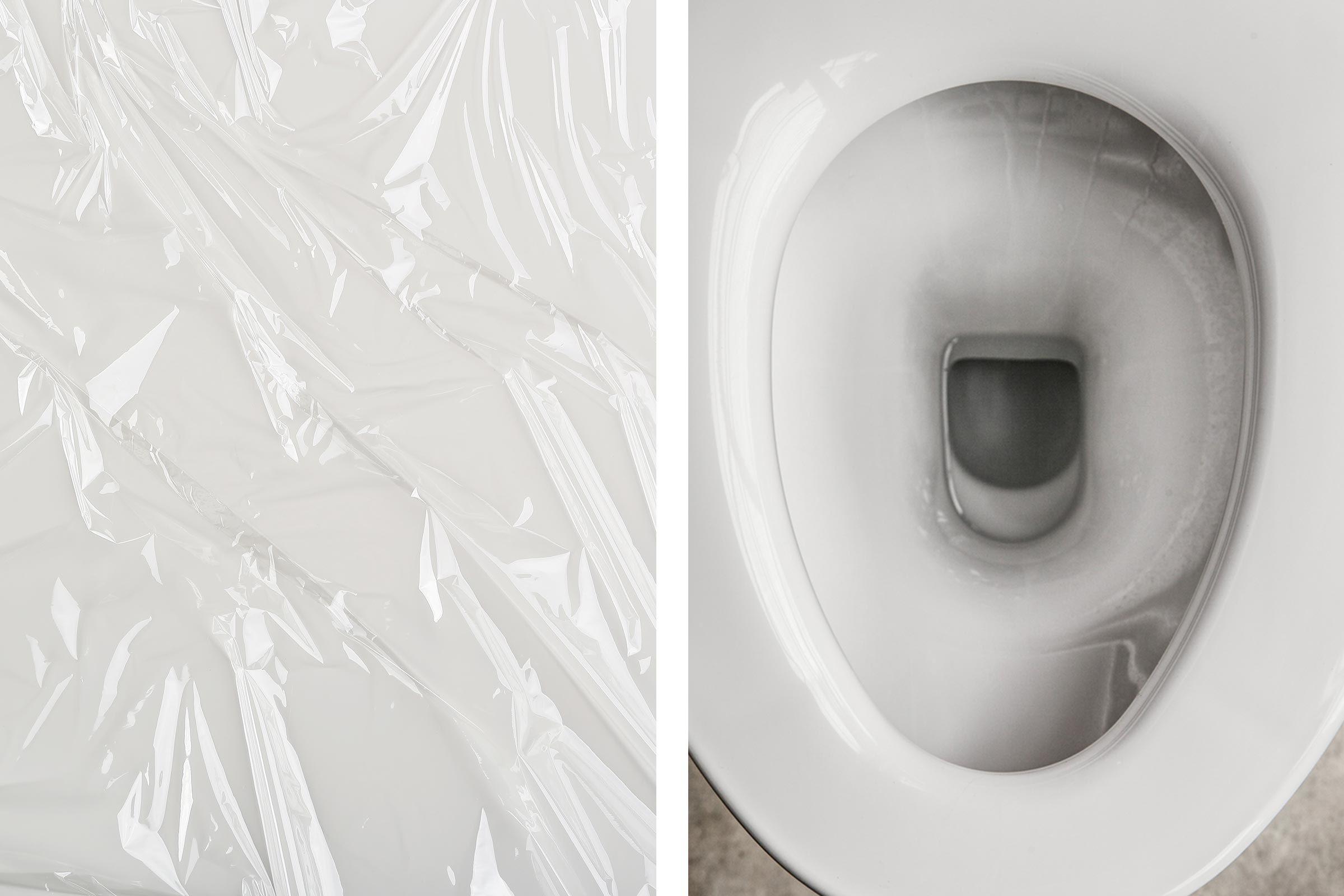 plastic wrap toilet