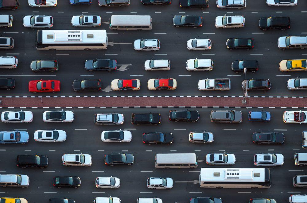 Top view of numerous cars in a traffic jam in Dubai, United Arab Emirates