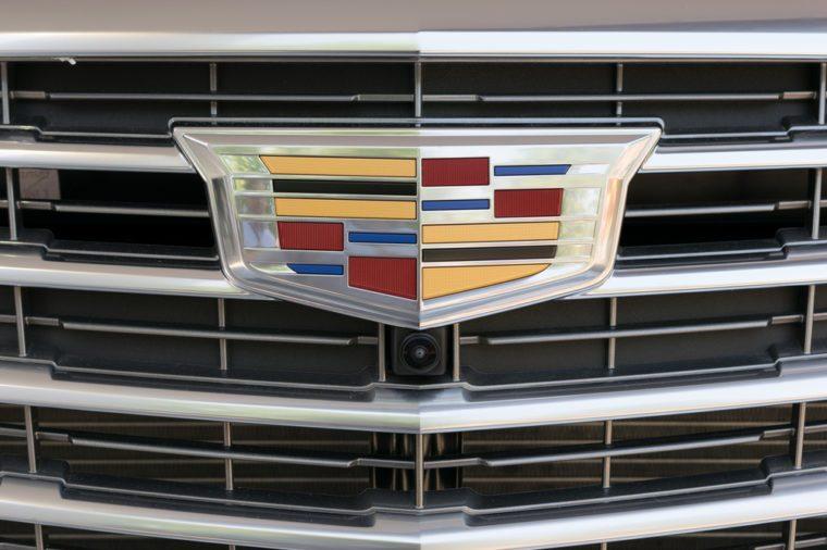 TURIN, ITALY - JUNE 10, 2017: Cadillac logo on a car grill