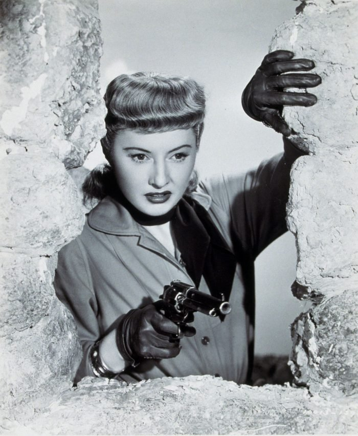 VARIOUS FILM STILLS OF 'FURIES' WITH 1950, ACTION, GUN CRAZY, HAND GUN, BARBARA STANWYCK, WEAPONS, WESTERN, BULL NOSE, WINDOW, WOMEN (EVIL/MEAN/DANGEROUS), FEMME FATALE, GUN, GLOVES, LEATHER GLOVES, ANGRY IN 1950