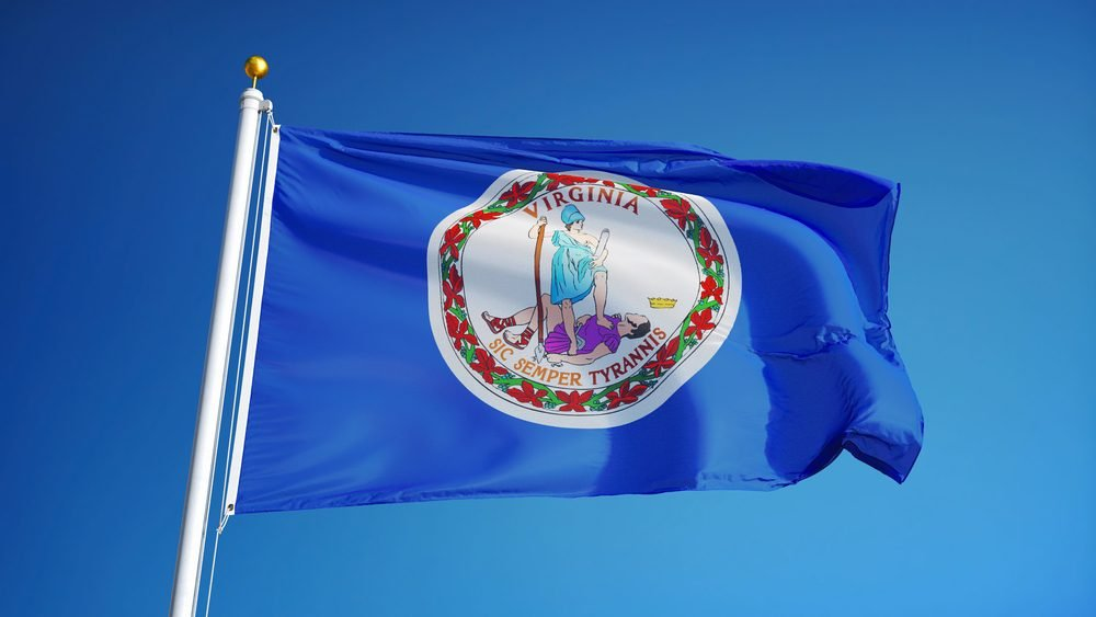 Virginia (U.S. state) flag waving against clear blue sky, close up, isolated with clipping path mask alpha channel transparency, perfect for film, news, composition