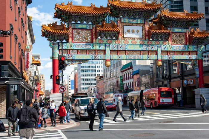 "Washington D.C./United States- 03/25/2016: The Chinatown friendship gate reads ""Chinatown"" in Mandarin Chinese."