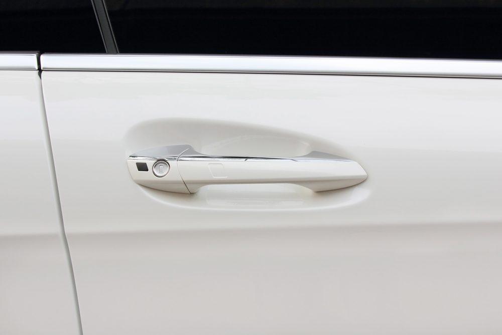 car door handle of cream color modern car