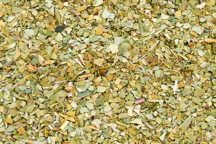 Paraguayan yerba mate tea texture background. Close up photography