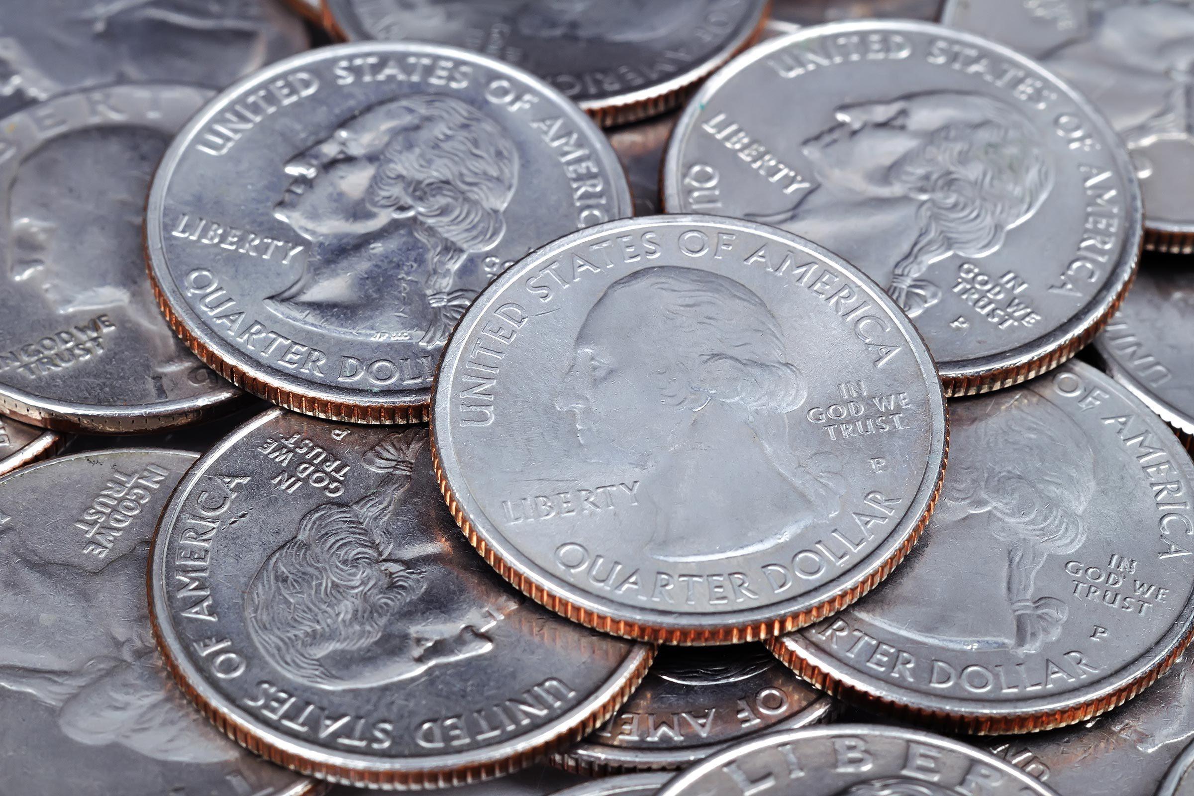 us quarters coins close up macro