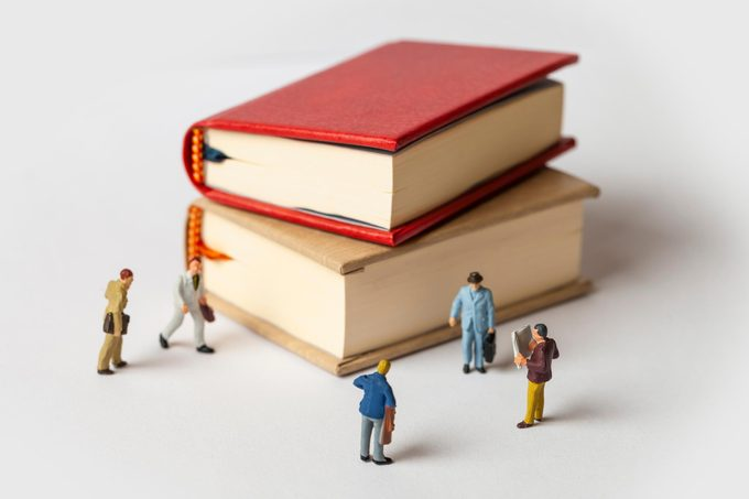 miniature figures school supplies books classroom