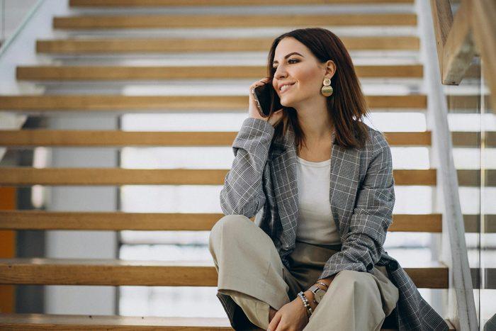 woman phone call steps