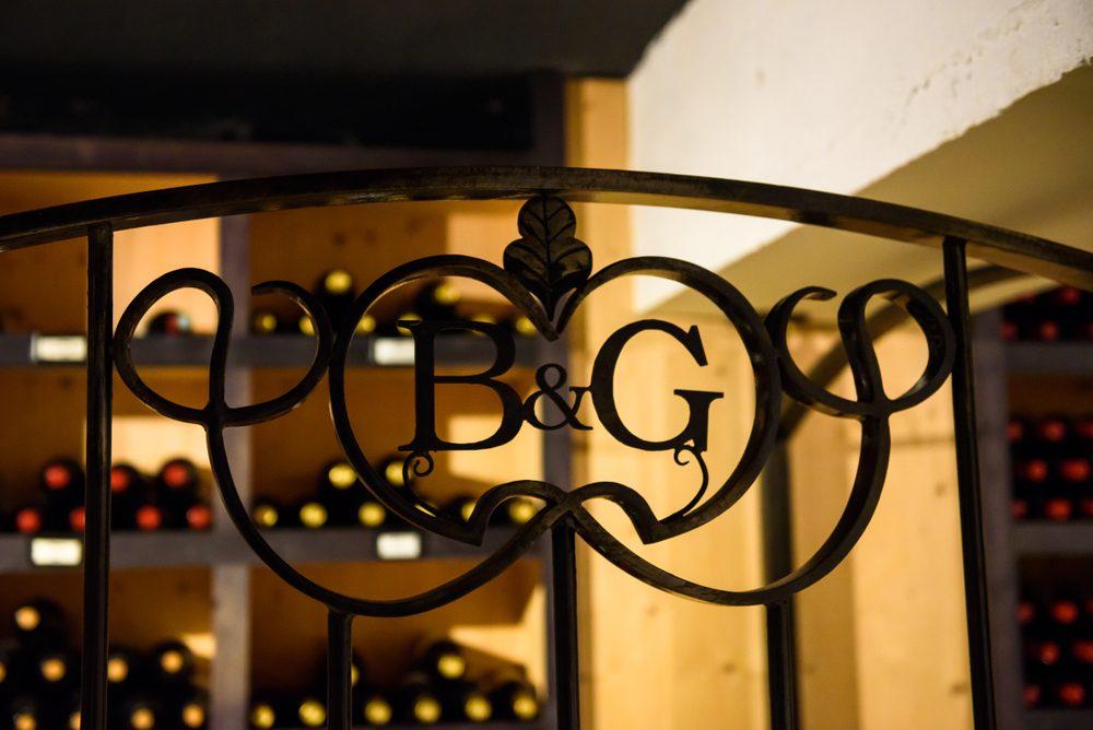 05.09.2017. BORDEAUX, FRANCE. Logo of Barton&Guestier (oldest wine house in Bordeaux) at basement.