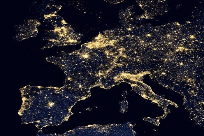 europe map night lights