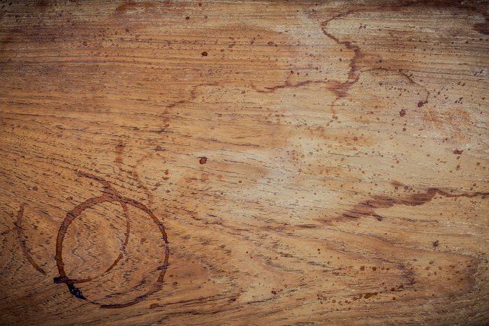 coffee rings wooden