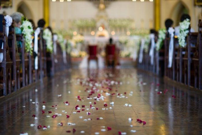 wedding ceremony aisle petals