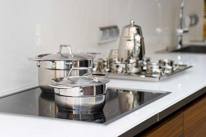 silver stainless steel pots pans