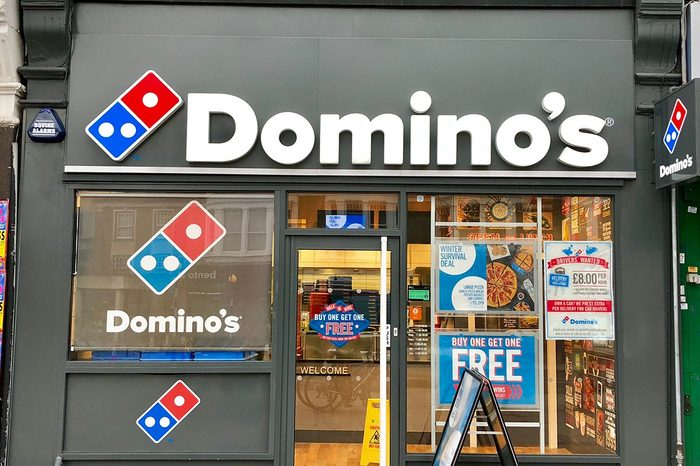 Domino's Pizza take away pickup and delivery shop in West Hampstead, London, UK.