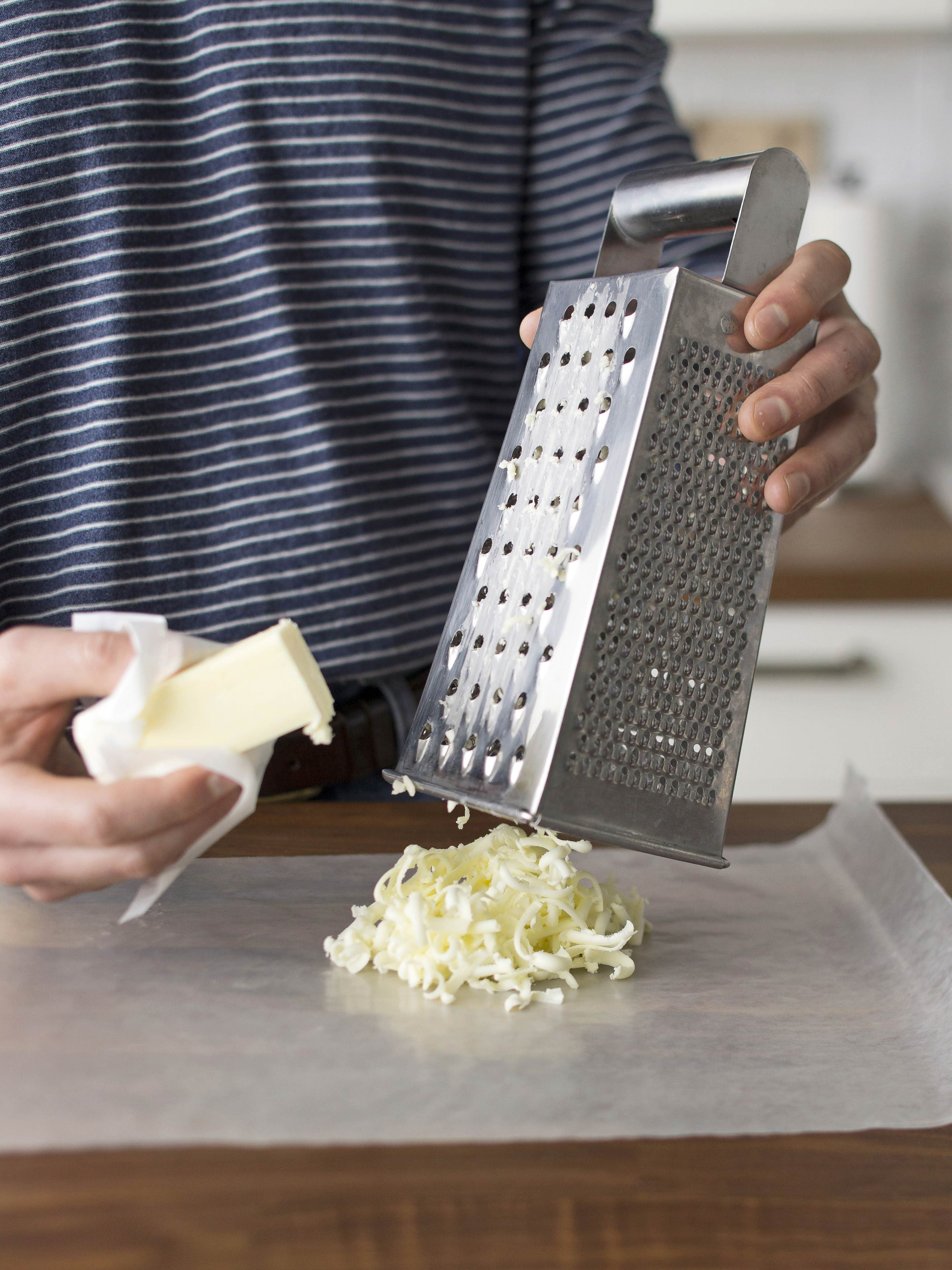 grate butter on cheese grater
