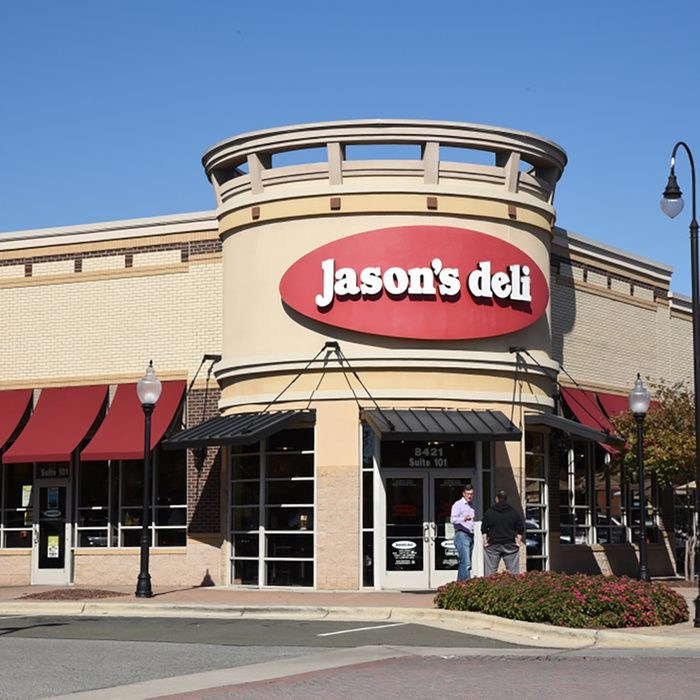 The exterior of a Jason's Deli location in Raleigh.