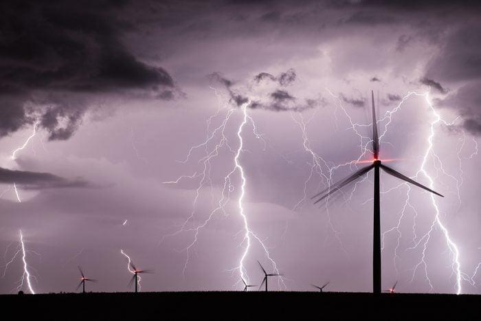 Thunderstorm over a wind farm