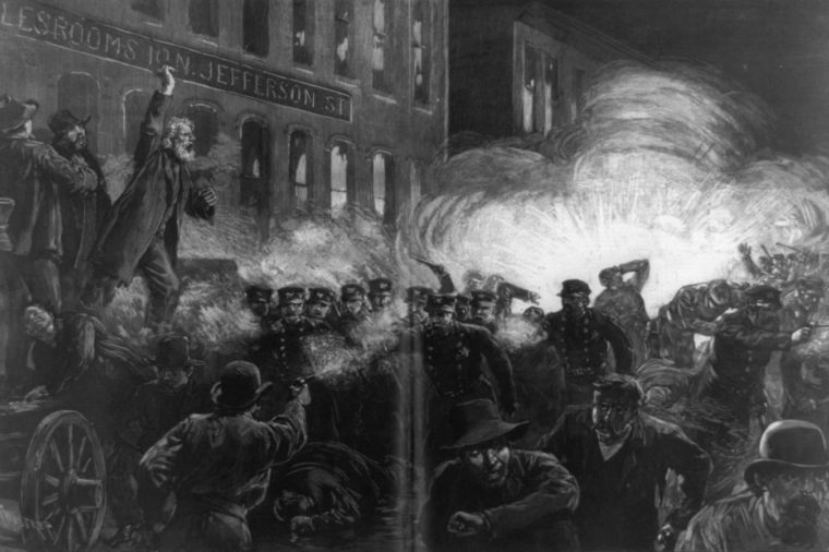 Art - various The Haymarket Riot in Chicago as dynamite Bomb set by anarchists explodes among the police, Drawn by Thure de Thulstrup from sketches and photos furnished by H. Jeaneret and illustrated in Harper's Weekly, May 15, 1886