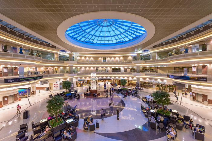 ATLANTA, GEORGIA - JULY 27, 2015: The main hall inside Hartsfield-Jackson Atlanta International Airport. It is the world's busiest airport by passenger traffic.