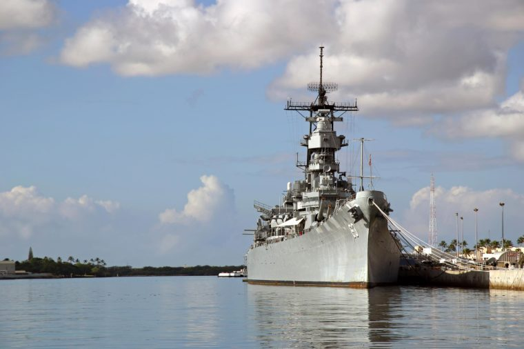 Battleship Missouri Memorial at Pearl Harbor in Honolulu on the island of O'ahu. Japan surrendered aboard the deck to end WW2.