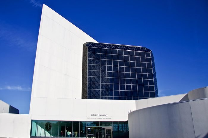 BOSTON - NOVEMBER 10, 2016: The modern architecture of The JFK Library and Museum in Boston, Massachusetts, USA with Boston