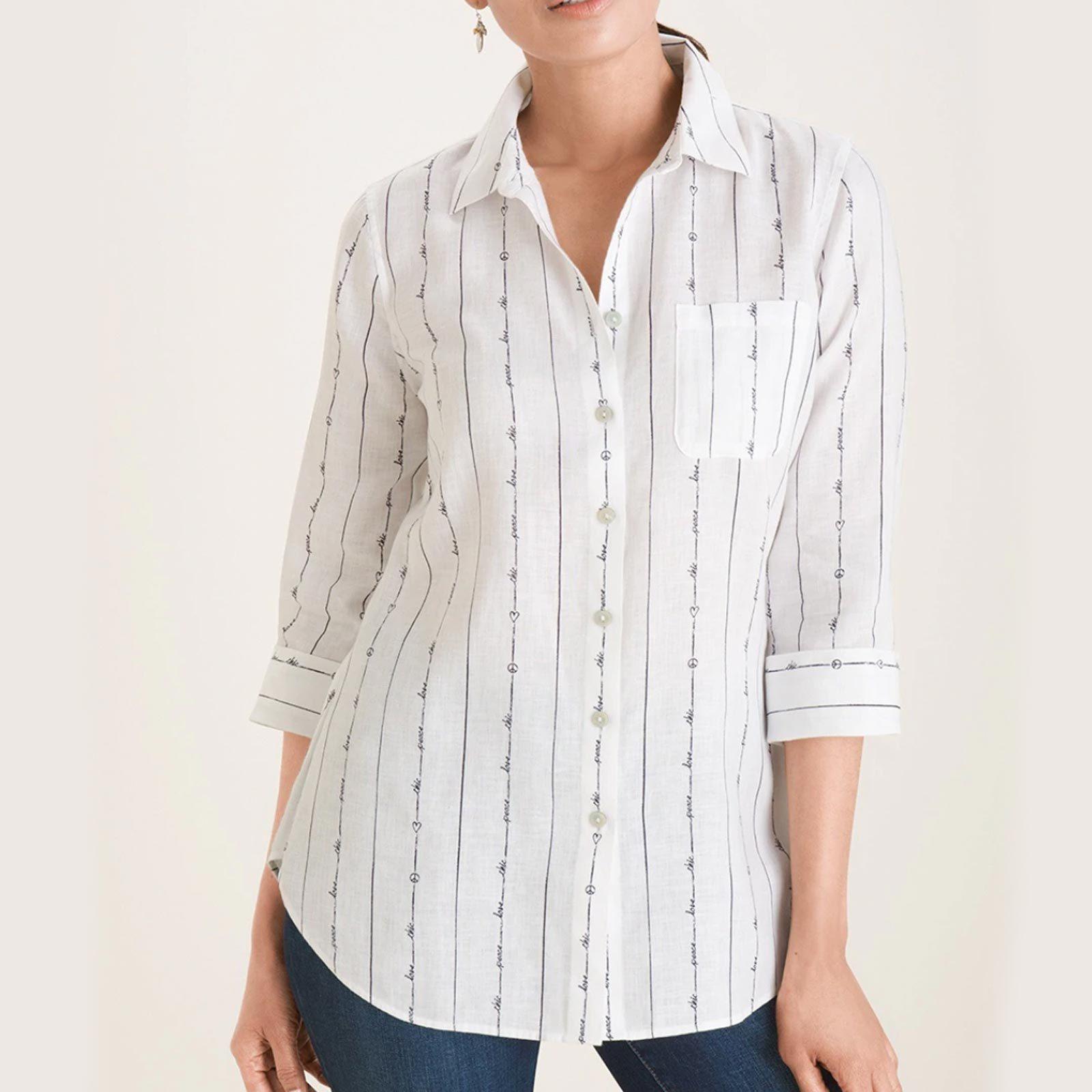 Chico's No-Iron Linen Peace Love Chic Shirt