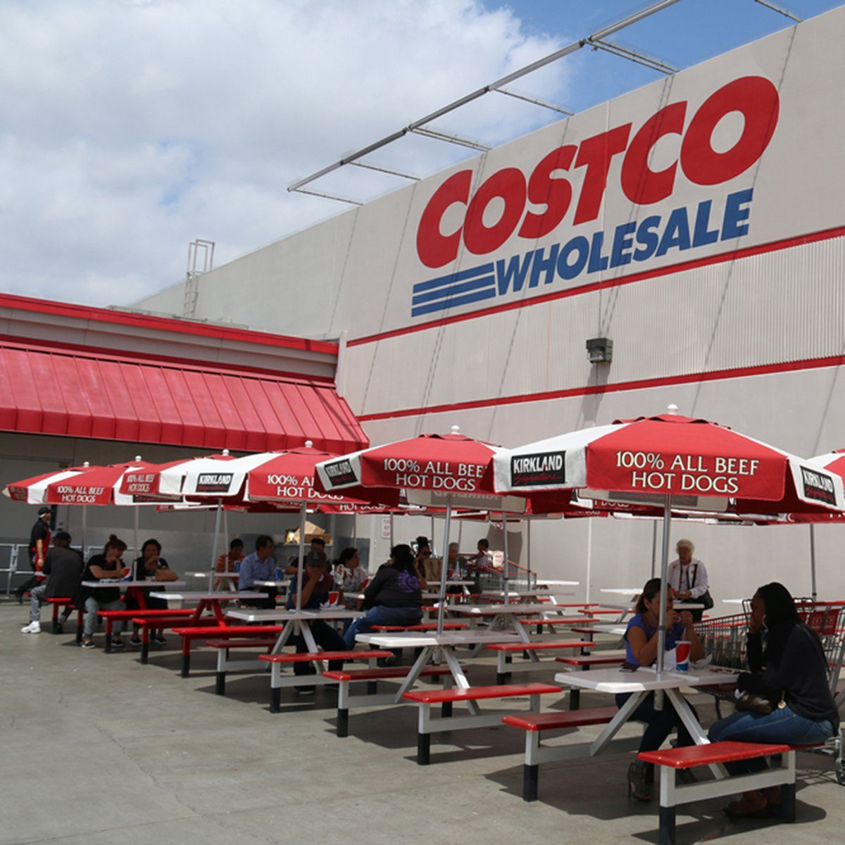 Norwalk, California, USA - April 27, 2016: Customers are having food purchased at the food court of Costco, the largest membership-only warehouse in the United States.; Shutterstock ID 412756606