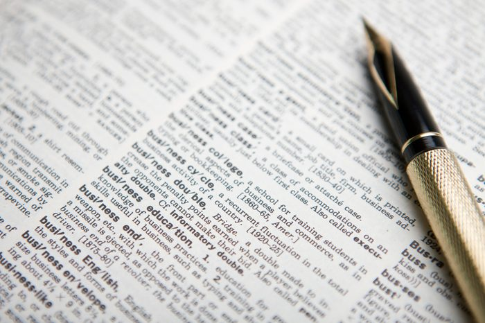 fountain pen and open dictionary