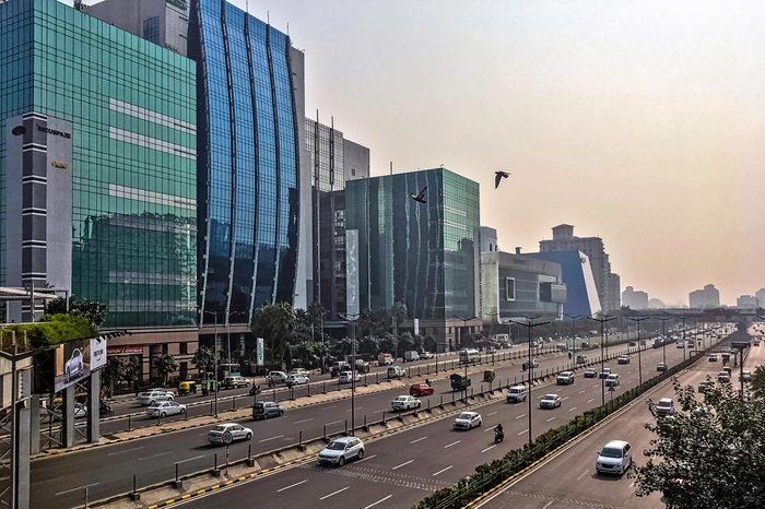 Gurgaon / Gurugram, New Delhi, India - December 13, 2018: Architecture of Cyber City (Cyberhub)