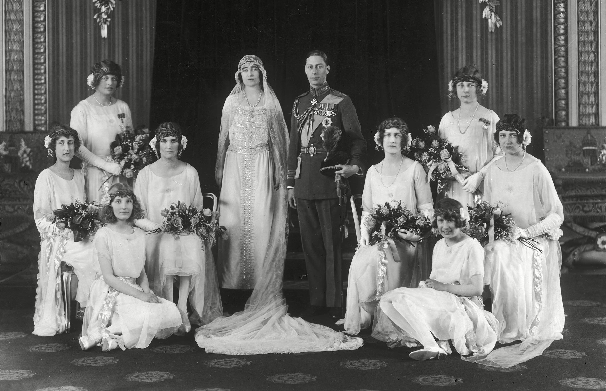 Historical Collection 166 Wedding Group Photograph On the Occasion of the Marriage of Lady Elizabeth Bowes-lyons (later Duchess of York Queen Elizabeth and the Queen Mother) to Albert Duke of York On 26th April 1923 at Westminster Abbey the Couple Pose with Their Eight Bridesmaids the Bride's Medieval Style Dress Was Designed by Madame Handley-seymour 1923