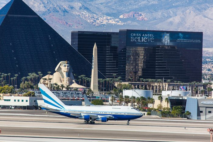 LAS VEGAS - NOVEMBER 3: Private Boeing 747 taxis at McCarran Airport in Las Vegas, NV on November 3, 2014. Boeing 747 was the worlds largest aircraft for 40 years up until the A380 was created.
