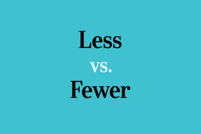 text: less vs. fewer