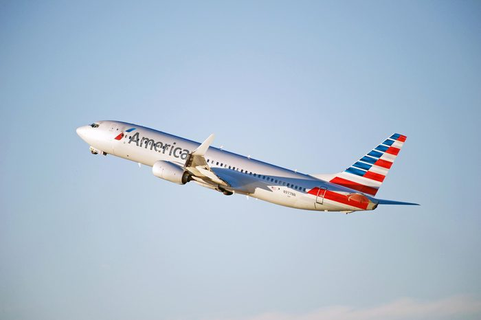 LOS ANGELES/CALIFORNIA - DEC. 17, 2016: American Airlines Boeing 737-823(WL) aircraft is airborne as it departs Los Angeles International Airport, Los Angeles, California USA