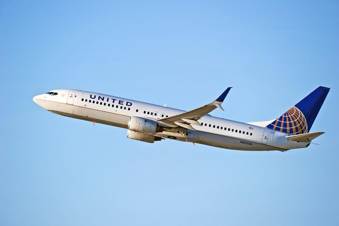 LOS ANGELES/CALIFORNIA - OCT. 21, 2017: United Airlines Boeing 737 aircraft is airborne as it departs Los Angeles International Airport. Los Angeles, California USA