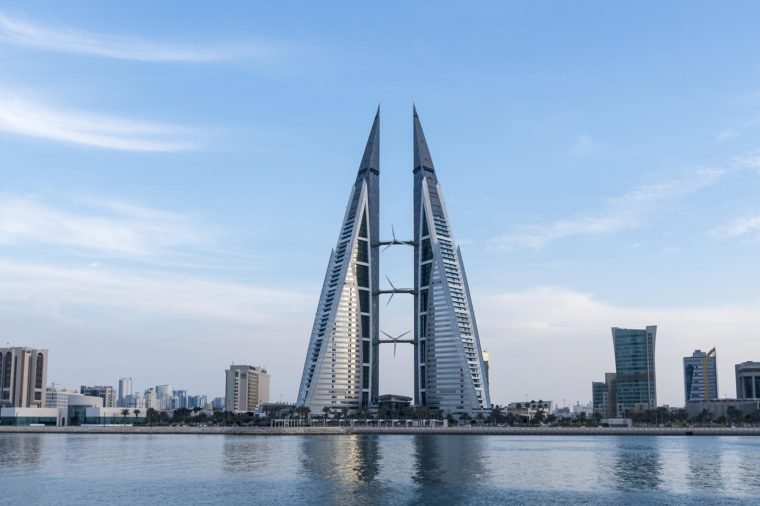MANAMA, BAHRAIN - November , 2017: view of the World Trade Center and other high rise buildings in Manama on Nov 19, 2017 in Manama, Bahrain