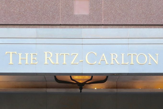 MCLEAN, VA - APRIL 20, 2019: RITZ CARLTON HOTEL - sign at entrance to hotel