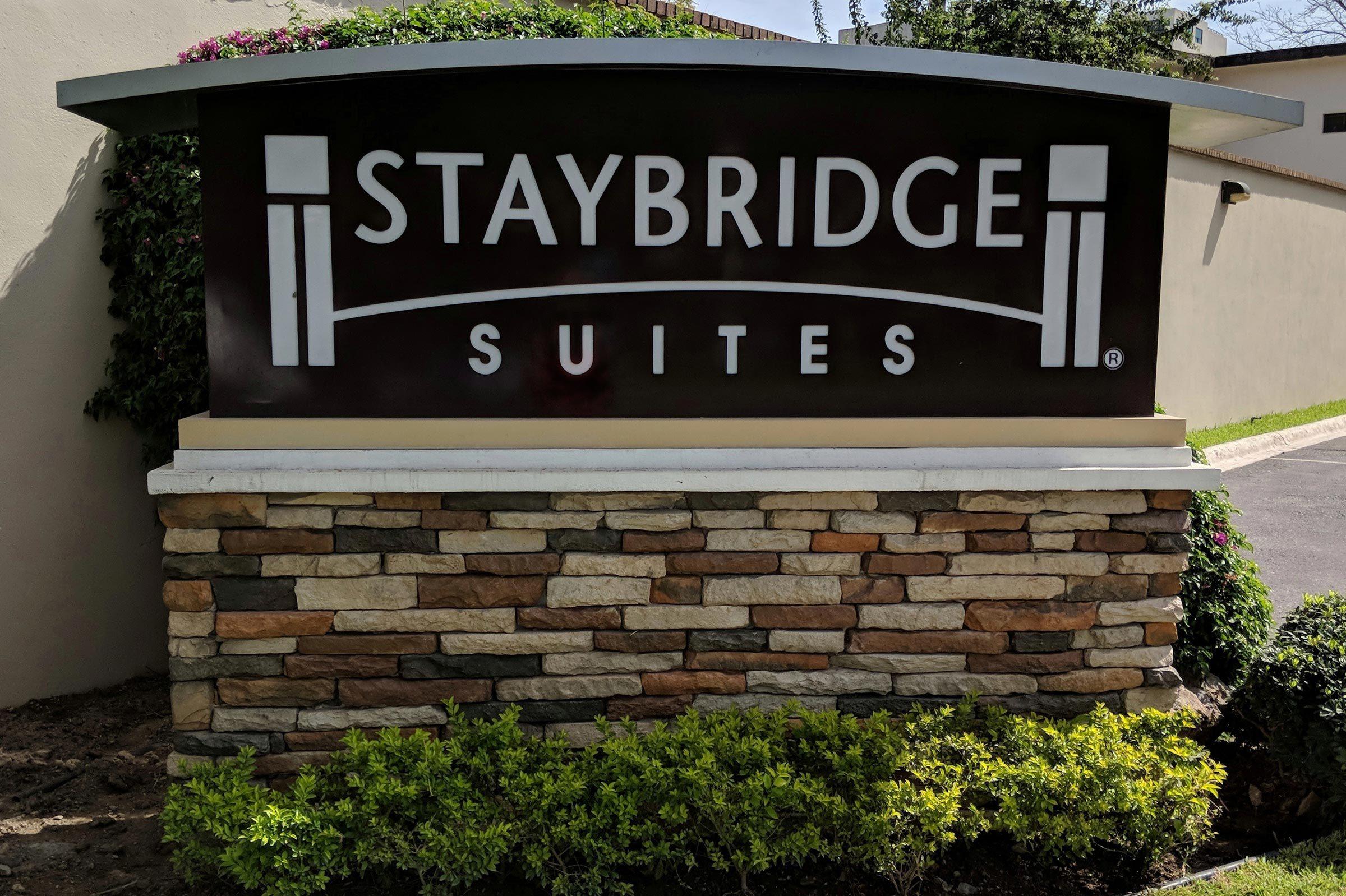 Monterrey, Nuevo Leon, Mexico - March 3, 2018: Sign at entrance to Staybridge Suites San Pedro.