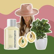 collage of mother's day gifts: potted plant, hoop earrings, body oil, pink hat