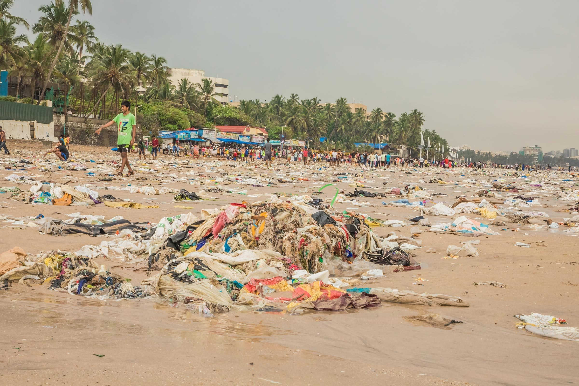 MUMBAI, INDIA - JUNE 25, 2017: The Juhu Beach in Mumbai which is filled with garbage and waste and is heavily poluted