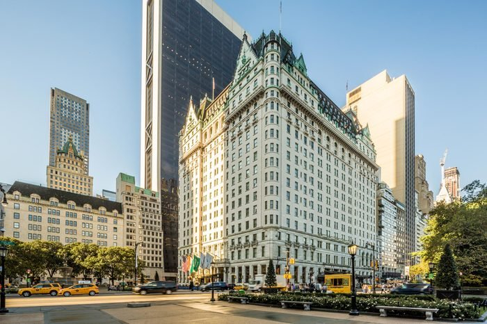 NEW YORK CITY - Oct 18: Grand Army Plaza in New York on October 18; 2016. Grand Army Plaza lies at the intersection of Central Park South and Fifth Avenue in front of the Plaza Hotel in Manhattan.
